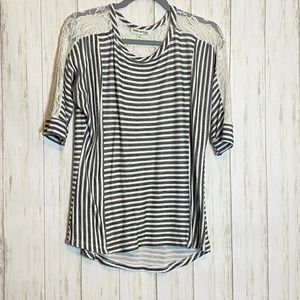 Gray / White Striped Lace Detail Sweater